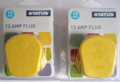 Status 13amp plugtop Yellow Zest pack of two